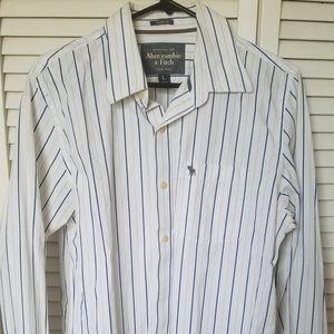 White striped long sleeve button up dress shirt